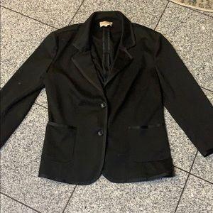 Black cotton stretchy 2-button 3/4 sleeve blazer